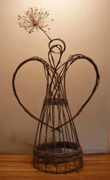 Willow Angel with an allium halo -Willow Angels Workshops with Phil Bradley at Greystoke Cycle Cafe