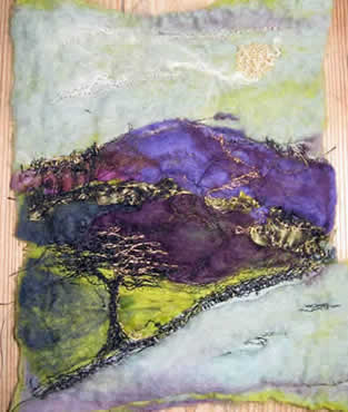 Cumbrian Heather, felted merino wool with embroidered detail