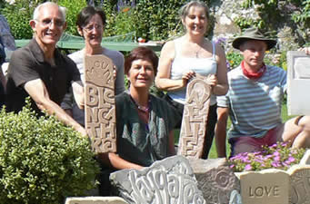 Stone Letter Carving 3 day course with Pip Hall   July 2011 at Greystoke Cycle Cafe