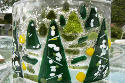Fused Glass Xmas Decorations at Greystoke Cycle Cafe