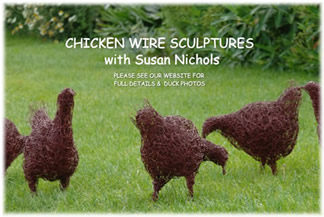 Hen Sculptures in Wire at Greystoke Cycle Cafe