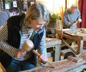 Relief Wood Carving Workshop in Hardwood at Greystoke Cycle Cafe with Alister Neville